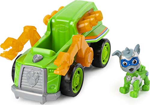 PAW Patrol Mighty Pups Super Paws Recyclingtruck mit Rocky-Figur (Basic Themed Vehicle)
