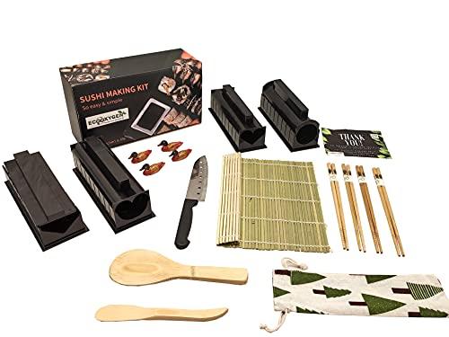 Eco Oxygen   Sushi Kit   20 pezzi Set Completo Professionale Fai Da Te + GUIDA PREPARAZIONE PDF   NOVITA' 2021   Stuoia Bambu   8 Stampi x Preparare Roll  