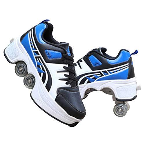 GGOODD Unisexo Zapatos Skate Invisible 4 Ruedas Patines de Ruedas Automática De Skate Zapatillas para Niños y Niñas Zapato de Rodillo de Patada Zapatos con Ruedas