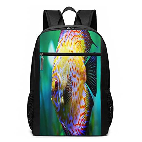 Schulrucksack Diskusfisch Aquarium, Schultaschen Teenager Rucksack Schultasche Schulrucksäcke Backpack für Damen Herren Junge Mädchen 15,6 Zoll Notebook