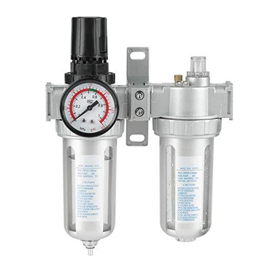 LANTRO JS - Regulador de filtro de aire doble de 1/2 pulgada, presión de aire comprimido, tipo de desbordamiento, fuente de aire, tratamiento de gas, regulador de agua y aceite, kit de herramientas co