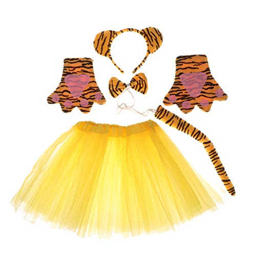 Amosfun - Juego de 5 piezas de disfraz de tigre, diadema, lazo, cola de patas, guantes, falda de gasa para nios, disfraz de animal para Navidad, baile de mscaras, fiestas, rendimiento