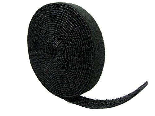 QualGear - Rotolo di fascette per cavi, riutilizzabile, colore: Nero 1 rotolo in sacchetto di poliestere. 1 Nero