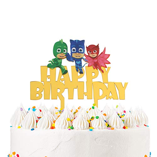 LILIPARTY Acrylic PJ Happy Birthday Masks Cake Topper for Superhero Theme Birthday Party Decoration Suppliers