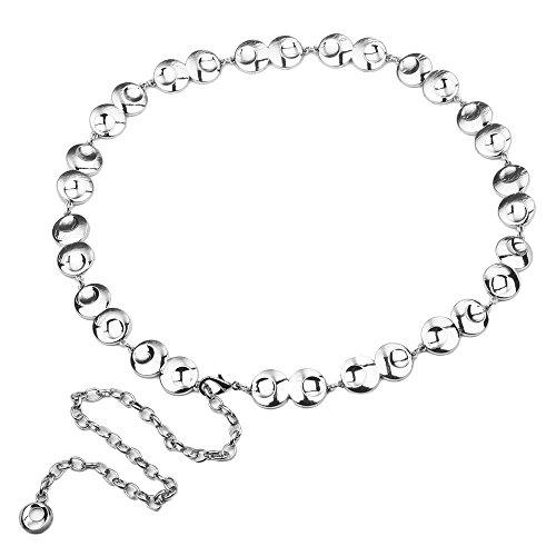 Audixius Fashion Damen Taillen Ketten Feiner Gurt Metall Rund Gürtel,Silber