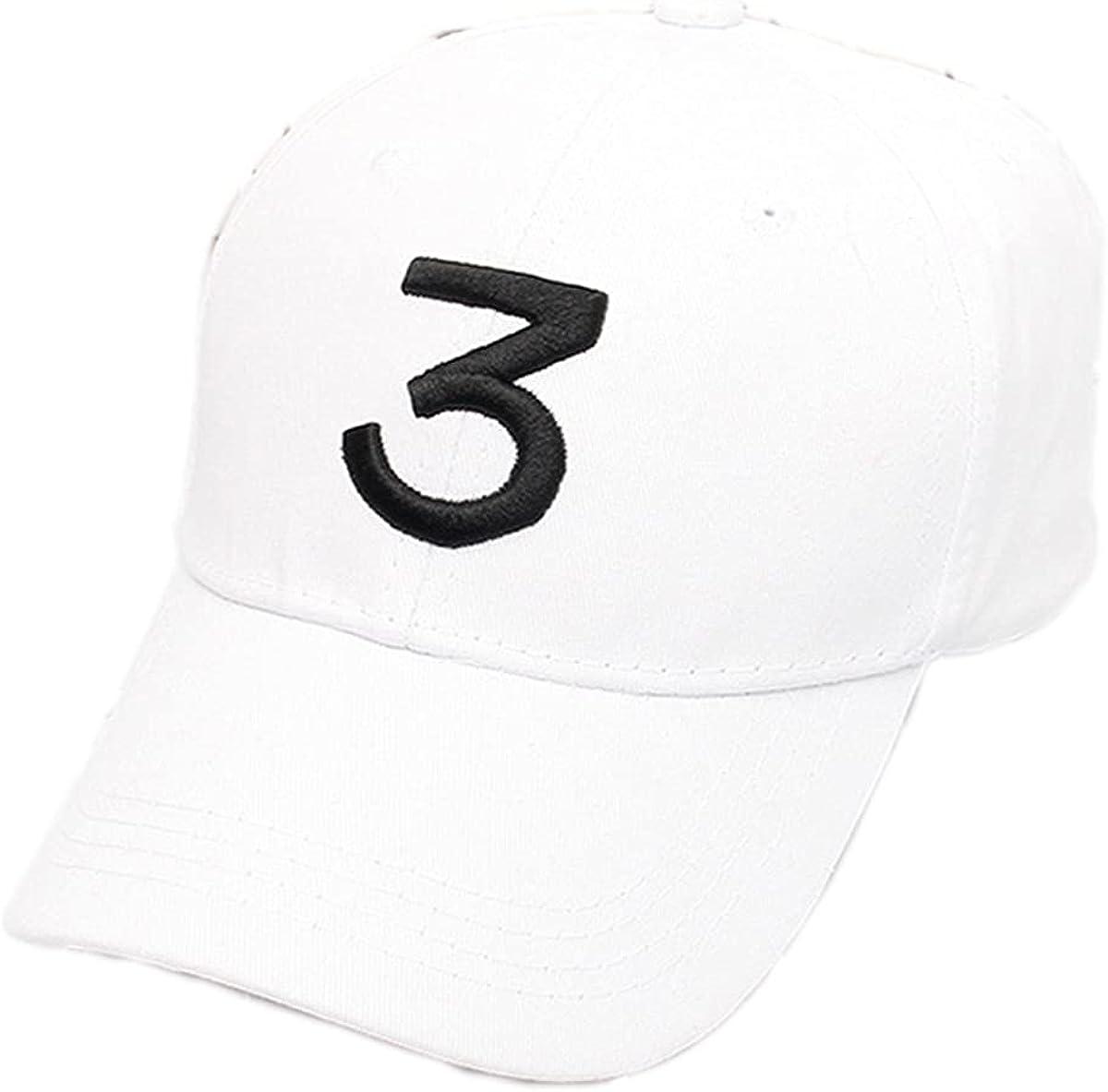 Men Women Adjustable Sports Cap,Baseball Rapper Caps with Number 3, Tennis Golf Ball Hat