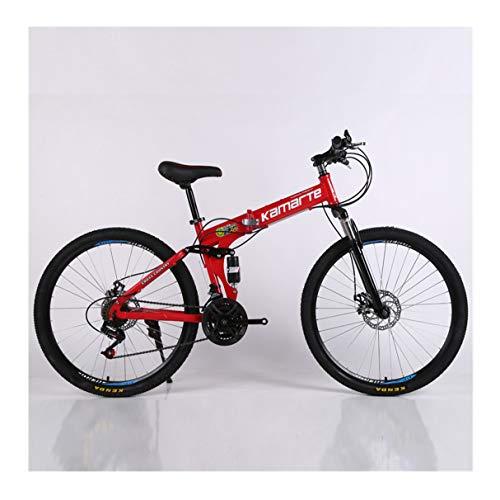 TPLIANG Bicicleta de Montaña Plegable de 26 Pulgadas Frenos de Doble Disco de 21 Velocidades Bicicleta 6 Rueda de Cuchillo y 3 Ruedas de Bicicleta de Montaña