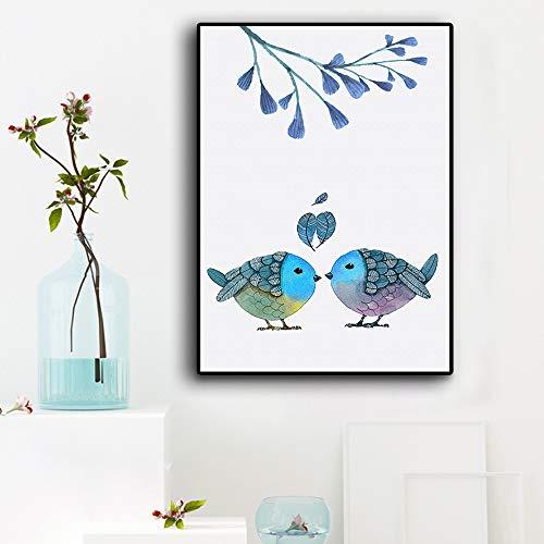 WSNDGWS Modern Home Decoration Kleine frisse minimalistische liefdesvogel-veren decoratief schilderij zonder fotolijst 40x50cm C3