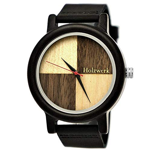 Handgefertigte Holzwerk Germany® Designer Damen-Uhr Herren-Uhr Öko Natur Holz-Uhr Leder Armband-Uhr Analog Klassisch Quarz-Uhr in Braun Schwarz