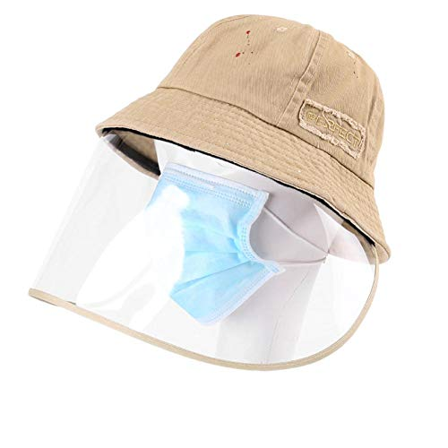 Bang 1 X (das Produkt enthält nur einen Hut) Schutzkappe abnehmbar m ask Fischerhut Anti-Spray Atmungsaktiv Sonnenhut Unisex Sommer Sonnenschutz Hut für Damen und Herren khaki