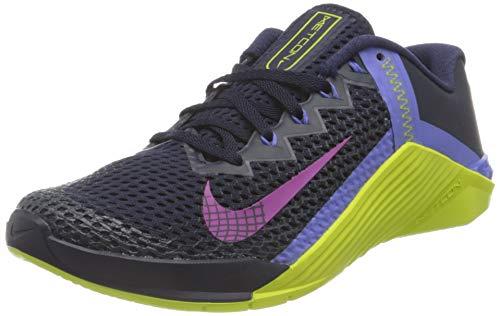 Nike Wmns Metcon 6, Zapatillas Deportivas Mujer, Blackened Blue Red Plum Cyber Sapphire, 40.5 EU