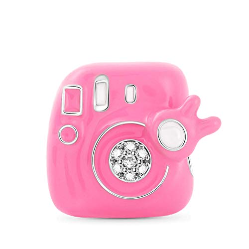 GNOCE Polaroid Kamera Charms Perle Sterling Silber Pink Hobby Thema Beads Charm Fit Armband/Halskette Mode Schmuck für Frauen Mädchen