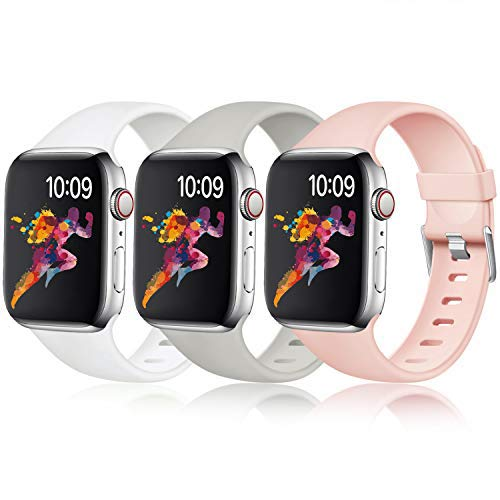 Laffav Waterproof Band Compatible with Apple Watch 40mm 38mm, Soft Replacement Sport Bands for iWatch Series 5 4 3 2 1, Pink Sand, Pebble, White, 3 Pack, M/L