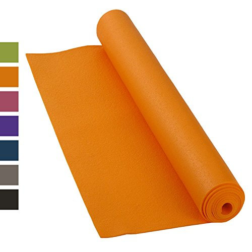 Yogamat KAILASH PREMIUM, goedkoop & robuust, antislip, vrij van schadelijke stoffen volgens Ökotex 100, 183 x 60 cm, 3 mm dunne privé- en studiomat, ftalaatvrij, machinewasbaar - Made in Germany oranje