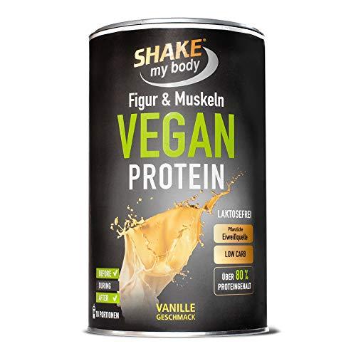 SHAKE my body Vegan Protein (Vanille), 86{a52917861d4bd582ced2e0d44855d1ea6786ba3c71b2c1144bb9566e25b29ba6} Eiweiß, laktosefrei, Low Carb, frei von Aspartam, Verdickungs- und Konservierungsmittel, Qualitätsprodukt aus Deutschland