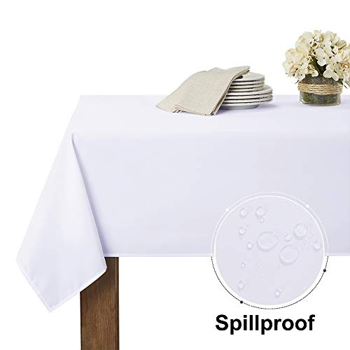 RYB HOME White Tablecloth for Buffet - Waterproof Table Cloth for Wedding Decorations Holiday Dinner for Indoor Outdoor Use, Rectangular Tables Linen for Reception, 60 x 84, White