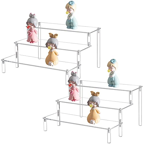 BYCY Clear Acrylic Display Risers, 3 Tier Cupcake Display Stand for Dessert Holder Collection Organizer and Display Shelf.(2 Pack - 12