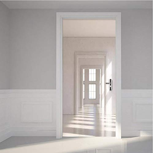 LLWYH PVC Selbstklebende wasserdichte Wandaufkleber Tür Wandbild Tapete Moderne 3D-Raum Kreative DIY Türaufkleber Home Decor Wohnzimmer 90x200cm