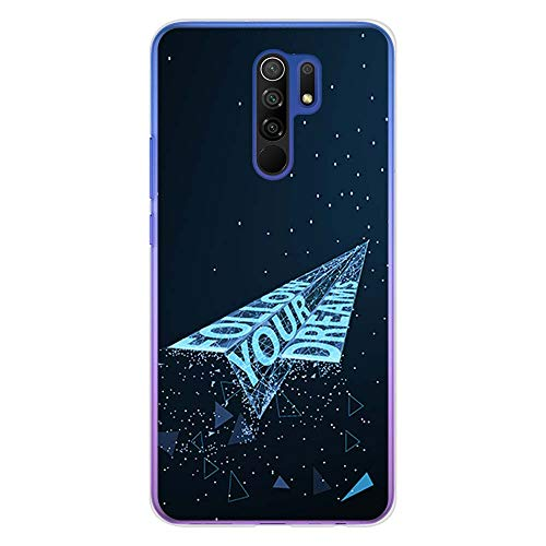 BJJ SHOP Funda Transparente para [ Xiaomi Redmi 9 ], Carcasa de Silicona Flexible TPU, diseño : Avion de Papel futuristico Follow Your Dreams