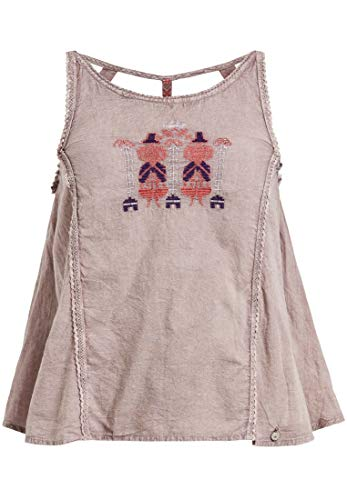 khujo Damen Top Sophia Trägertop aus Leichter Baumwolle mit Stickerei und Spitzenbordüren