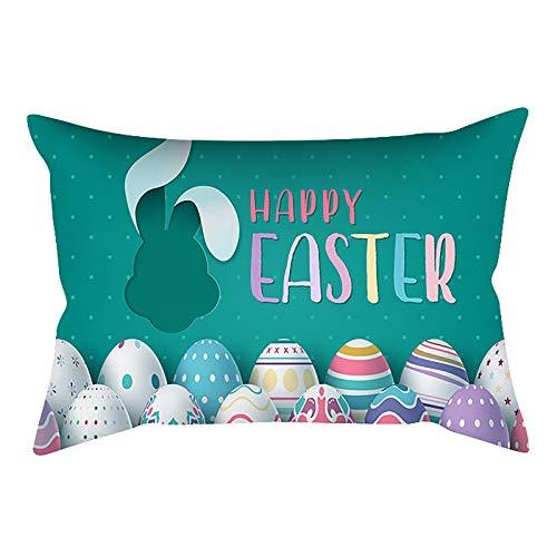Funda de cojín rectangular con diseño de conejo de Pascua para decoración del hogar, 45 cm x 45 cm