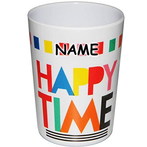 alles-meine.de GmbH 4 Stück _ 3 in 1 - Trinkbecher / Zahnputzbecher / Malbecher - Becher -  Happy Time  - incl. Name - 300 ml - mehrweg - Trinkglas aus Melamin - Kunststoff Pla..