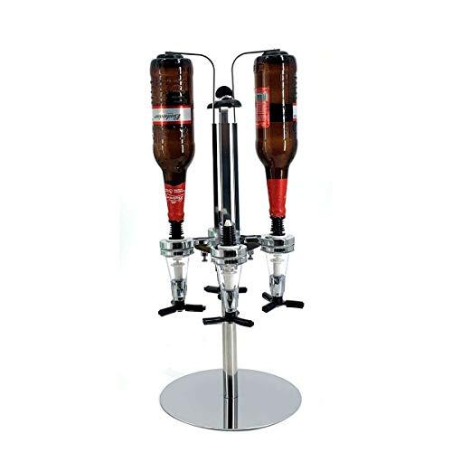 TABODD Soporte para botellas y dosificador de aluminio, 4 botellas, dispensador de bebidas líquidas, alcohol, shots, cabinet de escritorio, giratorio, dosificador, racionamiento cuantitativo