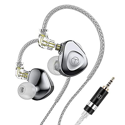Linsoul TRN BA15 15 Balanced Armature Flagship In-ear Monitor with Aerospace-Grade Magnesium Alloy Housing, 16-core Silver-plated OCC Copper Cable, Passive Noise Canceling (2.5mm, Diamond Silver) by Trn