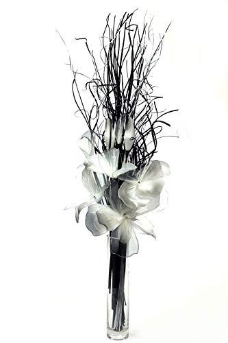 Schwarz-Weiß-Silber Netlon Bouquet Blumen-handgefertigt und indische Getrocknete grasses. ca. 80cm tall. Vase nicht im Lieferumfang enthalten