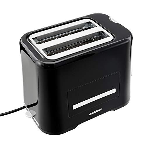 ALASKA 2-Scheiben-Toaster TA2209DS | schwarz | 870 Watt | Auftau-, Aufback- & Unterbrechungsfunktion | Krümelschublade | Brötchen-Röstaufsatz | Temperaturregler | Kabelaufwicklung | Stopptaste
