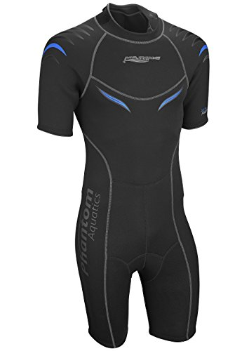 Phantom Aquatics Marine Men's Shorty Wetsuit, Black Blue - Large