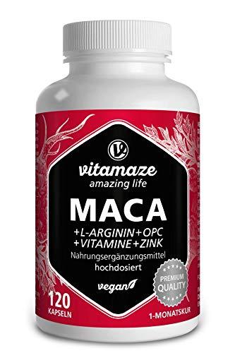 Maca Pura en Cápsulas, Altamente Concentrada con 5000 mg + L-Arginina + Vitamina B6, B12 + OPC + Zinc, 120 Cápsulas de Maca Andina para 1 Mes, sin Aditivos Innecesarios, Calidad Alemana