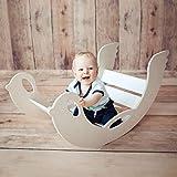 Bogenwippe und Kletterbogen aus Holz - handgefertigt, Babys und Kinder ab 12 Monaten, Kletterspielzeug, Pikler-Art, für Gleichgewichtssinn, Wippe weiß