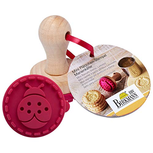 Birkmann 340336 Cachet à Biscuits Mini Coccinelle Ø 5cm, Silicone, Rouge/Brun, 5 x 5 x 4 cm
