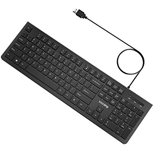 VicTsing Keyboard 49ft Cable wired Computer Keyboard with Stands Low Profile Chiclet USB Keyboard for Windows/PC/Laptop/Desktop/Surface/Chromebook