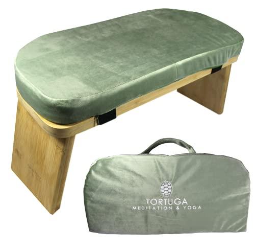 TORTUGA MEDITATION & YOGA - Banco de Meditación Plegable 100% de Bambú Orgánico - Color VERDE - Pack completo: Bolsa para transportar, cómodo cojín - Mejora la postura