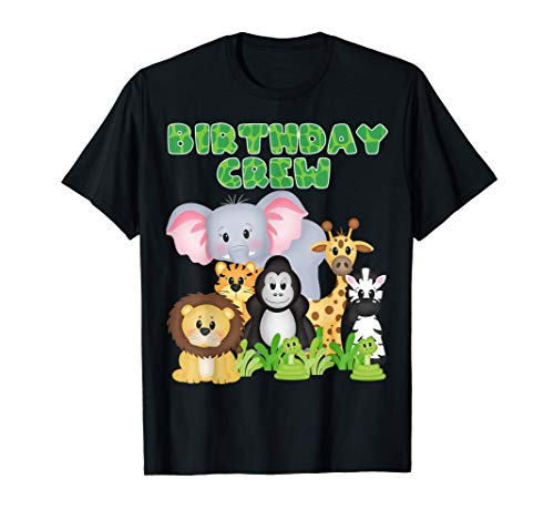 Birthday Crew Zoo Safari Jungle Animals Birthday Party Camiseta