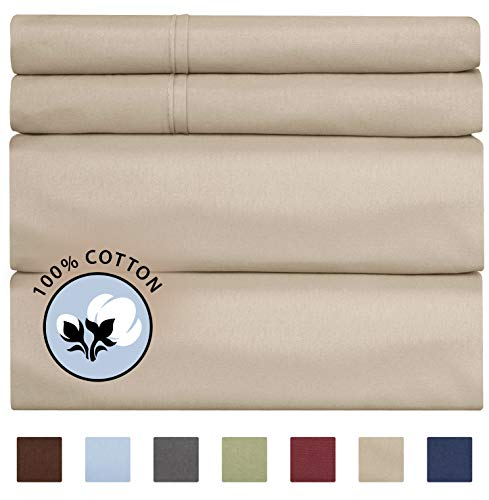 100% King Size Sheets Cotton Beige (4pc) Silky Smooth, Cooling 400 Thread Count Long Staple Combed Cotton King Sheet Set – 400TC High Thread Count King Sheets - King Bed Sheets All Cotton 100% Cotton