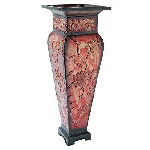 "Hosley 21.25"" Tall Embossed Floor Vase, Red. Ideal Gift for Home Office, Party, Weddings, Office Decor, Dried Floral O3"
