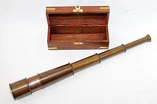 Unbekannt Antik Fernrohr Messing Teleskop ausziehbar auf ca. 50 cm in Edler Holzbox