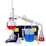 Equipo de laboratorio químico de laboratorio, Set de destilación de purificación Caja de herramientas de vidrio Suministros de enseñanza de ciencias industriales, Equipo de laboratorio Accesorios