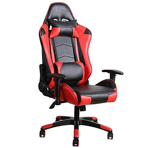 Worth having - Leren gamingstoel, lederen bureaustoel 180 ° Terugineerbare armleuning Ergonomische gamingstoel met schommelfunctie PU lederen bureaustoel, rood (Color : Red)