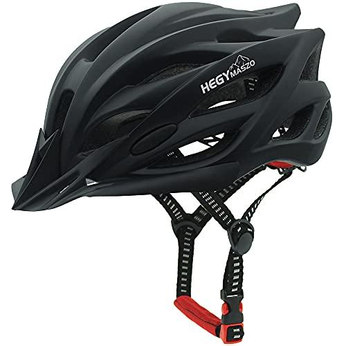 Casco da bicicletta, casco da bicicletta certificato CE, casco da bici leggero regolabile per uomini e donne adulti, casco da strada e da montagna con visiera staccabile (Nero)