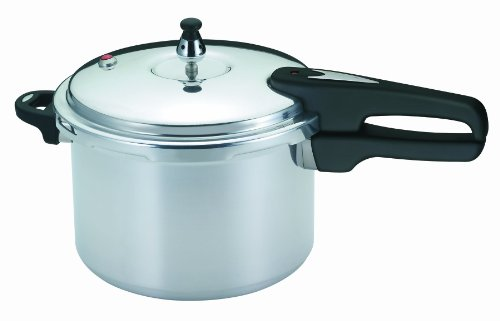 Mirro 92160A Polished Aluminum 10-PSI Pressure Cooker Cookware, 6-Quart, Silver -