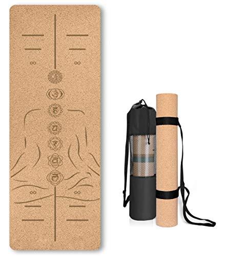Esterilla de Yoga de Corcho Antideslizante - Alfombra para Entrenamiento de Gimnasia ,sin sustancias nocivas, para Yoga y Pilates - Colchoneta de 183 x 61 x 0.4CM-con Correa de Transporte-Posición 4