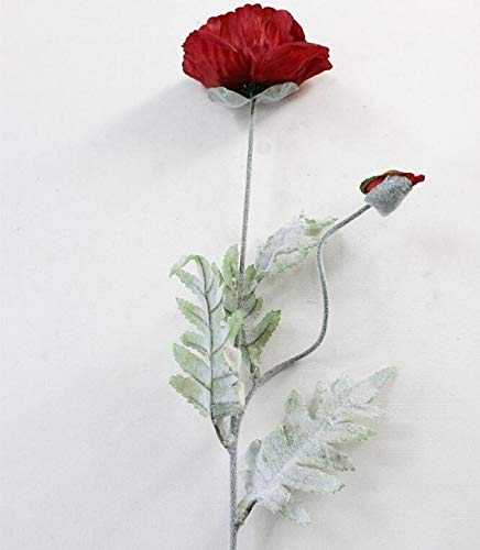 GANHUA 5 Stks Kunstmatige grote Papaver bloem met bladeren fleurs kunststoffen voor de herfst herfst herfst Thuis partij Decoratie krans nep zijde bloemen Hele lengte 70cm Wijn Rood