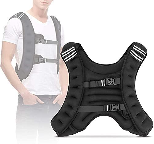 GOTOP Chaleco con peso, 22 libras de peso fijo para ejercicios de hierro, chaleco con hebilla ajustable para entrenamiento de resistencia