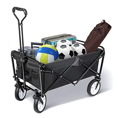 TOOCA Collapsible Folding Utility Wagon Outdoor, Heavy Duty Garden Cart with...