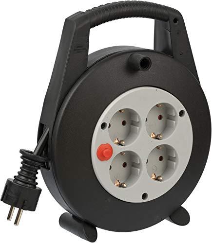 Brennenstuhl Vario Line Kabeldoos, 4-voudig, mini-kabelhaspel, indoor kabelhaspel voor het huishouden, 5 m kabel, Made in Germany, zwart/grijs Single 5 m zwart/lichtgrijs