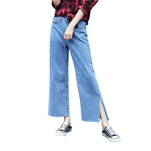 Olici MDRW-Taille Brede Been Jeans Vrouwelijke Studenten Losse Negen Broek Split Hoorn Brede Been Broek